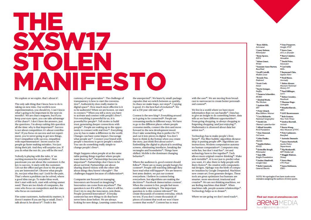 Stolen Manifesto 2017_SXSW_Arena Media
